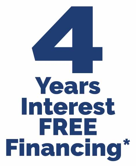 4 Years Interest FREE Financing!